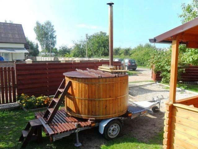 Hot tub on trailer