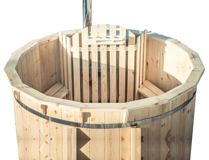 Wooden hot tub.