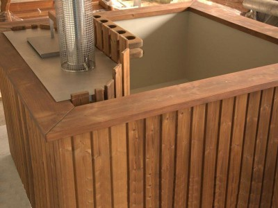 Vierkante houten hot tub Thermowood met interieur van kunststof