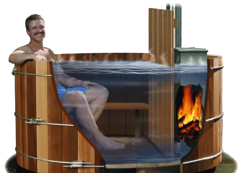 A man in a hot tub. Un homme dans un bain nordique. Een man in een hot tub.
