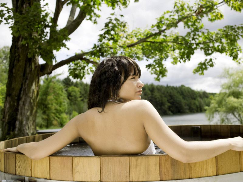 Woman in a hot tub