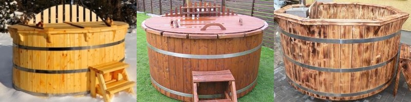 Varnished, painted, scorched hot tubs