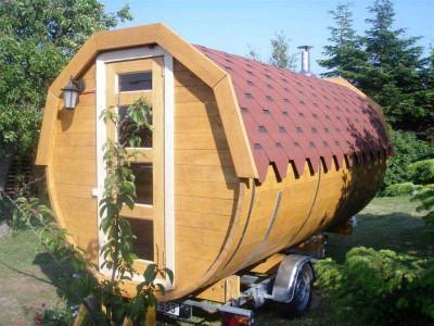 Wooden barrel sauna.