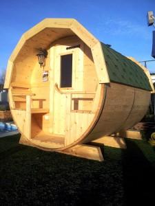 Sauna baril en bois.