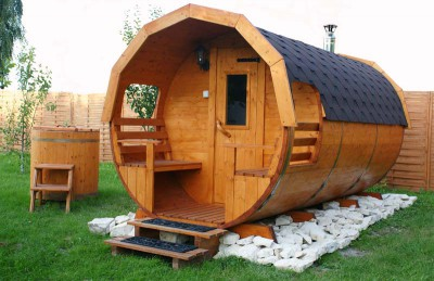 Wooden barrel sauna.