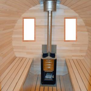 Interieur du sauna baril
