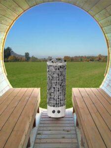 Sauna exterieur en bois baril tonneau poêle Harvia Cilindro