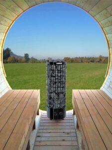 Sauna exterieur en bois baril tonneau poêle Harvia Cilindro Black
