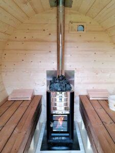 Sauna exterieur en bois baril tonneau poêle Harvia M3