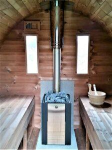 Sauna exterieur en bois baril tonneau poêle Kota Kuru 14 ST