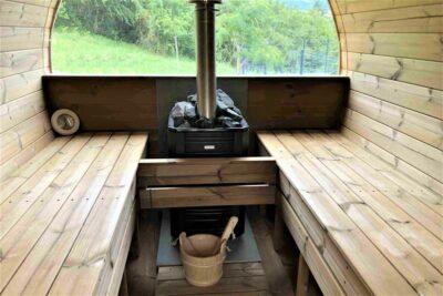 Sauna exterieur en bois baril tonneau poêle Narvi Black