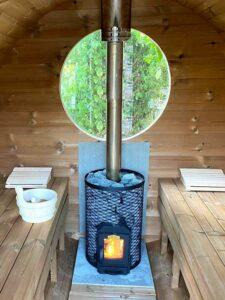 Sauna exterieur en bois baril tonneau poêle Harvia Trendi KIP